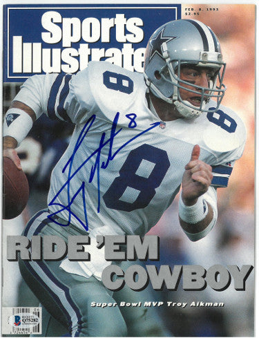Troy Aikman signed Sports Illustrated Full Magazine 2/8/1993- Beckett/BAS #Q75282 (Dallas Cowboys/SB MVP/No Label) PSM-Powers Sports Memorabilia
