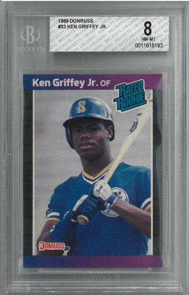 Ken Griffey, Jr. 1989 Donruss Rookie Baseball Card (RC) #33- Beckett Graded 8 Near Mint- Mint (Seattle Mariners) PSM-Powers Sports Memorabilia