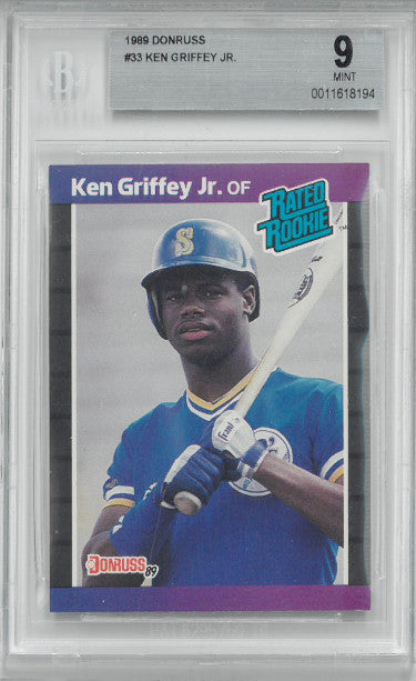 Ken Griffey, Jr. 1989 Donruss Rookie Baseball Card (RC) #33- Beckett Graded 9 Mint (Seattle Mariners) PSM-Powers Sports Memorabilia