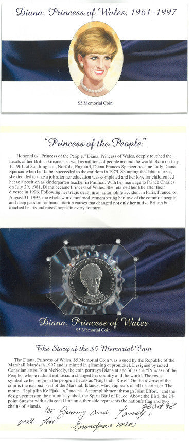 1997 Diana Princess Of Wales $5 MEMORIAL COIN & CARD MARSHALL ISLANDS TRIBUTE UNCIRCULATED PSM-Powers Sports Memorabilia