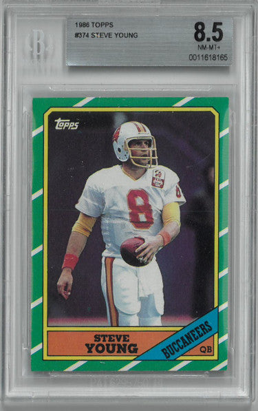 Steve Young 1986 Topps Football Rookie Card (RC) #374- Beckett Graded 8.5 Near Mint-Mint+ (Tampa Bay Buccaneers) PSM-Powers Sports Memorabilia