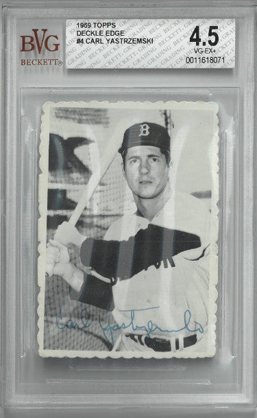 Carl Yastrzemski 1969 Topps Deckle Edge Baseball Card #4- Beckett/BVG Graded 4.5 Very Good-Excellent+ (Boston Red Sox) PSM-Powers Sports Memorabilia