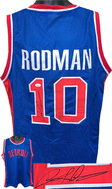Dennis Rodman signed Blue TB Custom Stitched Basketball Jersey XL- JSA Witnessed PSM-Powers Sports Memorabilia
