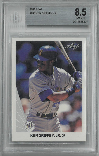 Ken Griffey, Jr. 1990 Leaf Baseball Card #245- Beckett Graded 8.5 Near Mint-Mint+ (Seattle Mariners) PSM-Powers Sports Memorabilia