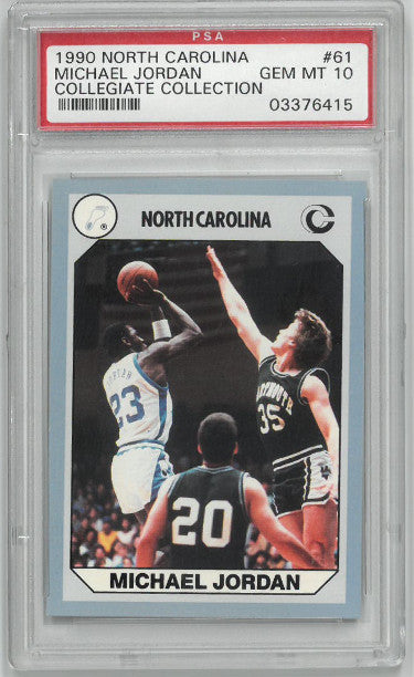 Michael Jordan 1990 North Carolina Collegiate Collection Card #61- PSA Graded 10 Gem Mint (Chicago Bulls) PSM-Powers Sports Memorabilia
