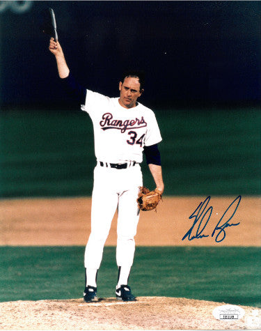 Nolan Ryan signed Texas Rangers 8X10 Photo- JSA #II61149 (Strikeout King) PSM-Powers Sports Memorabilia