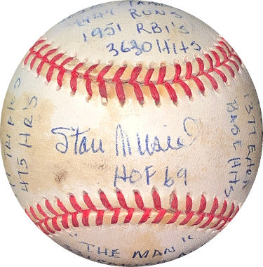 Stan Musial signed Official Rawlings RONL 20 STAT BASEBALL- JSA #KK58210- ReggieJackson.com 317/1000 toned (St. Louis Cardinals) PSM-Powers Sports Memorabilia