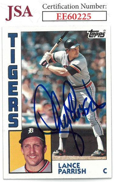 Lance Parrish signed 1984 Fleer Baseball Card #640- JSA #EE60225 (Detroit Tigers) PSM-Powers Sports Memorabilia