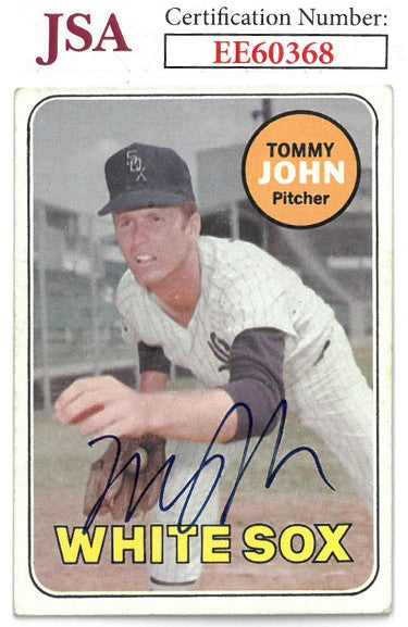 Tommy John signed 1969 Topps Baseball Card #465- JSA #EE60368 (Chicago White Sox) PSM-Powers Sports Memorabilia