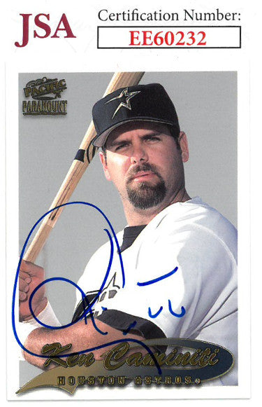 Ken Caminiti signed 1999 Pacific Paramount Baseball Card #104- JSA #EE60232 (Houston Astros) PSM-Powers Sports Memorabilia