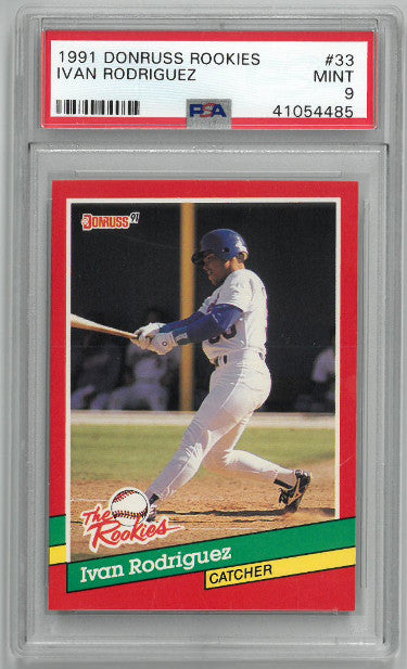 Ivan Rodriguez 1991 Donruss Rookies Rookie Card (RC) #33- PSA Graded 9 Mint (Texas Rangers) PSM-Powers Sports Memorabilia