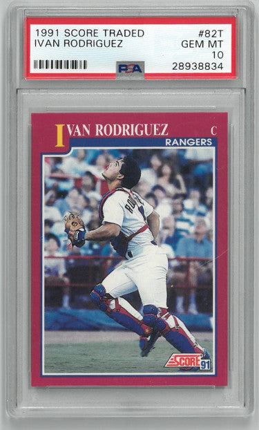Ivan Rodriguez 1991 Score Traded Rookie Baseball Card (RC) #82T- PSA Graded Gem Mint 10 (Texas Rangers) PSM-Powers Sports Memorabilia