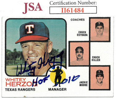 Whitey Herzog signed 1973 Topps Baseball Card HOF 2010 #549- JSA #II61484 (Texas Rangers) PSM-Powers Sports Memorabilia
