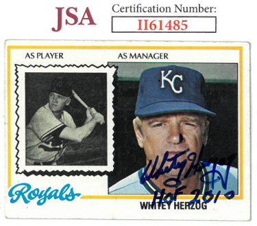 Whitey Herzog signed 1978 Topps Baseball Card HOF 2010 #299- JSA #II61485 (Kansas City Royals) PSM-Powers Sports Memorabilia