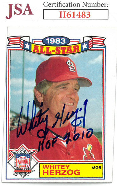 Whitey Herzog signed 1984 Topps Baseball Card HOF 2010 #12- JSA #II61483 (St. Louis Cardinals) PSM-Powers Sports Memorabilia