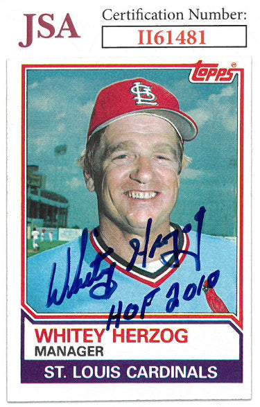 Whitey Herzog signed 1983 Topps Baseball Card HOF 2010 #186- JSA #II61481 (St. Louis Cardinals) PSM-Powers Sports Memorabilia