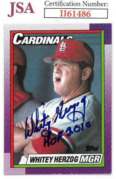 Whitey Herzog signed 1990 Topps Baseball Card HOF 2010 #261- JSA #II61486 (St. Louis Cardinals) PSM-Powers Sports Memorabilia
