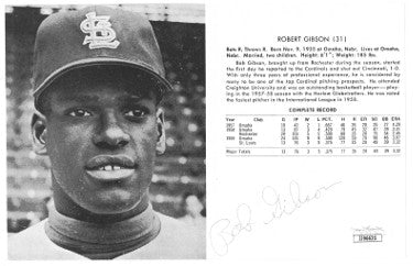 Bob Gibson signed St. Louis Cardinals 1960 Yearbook Vintage 5x7.5 B&W Photo/Stat Full Page- JSA #JJ96635 PSM-Powers Sports Memorabilia