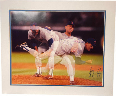 Nolan Ryan signed Texas Rangers Triple Exposure 16x20 Photo Matted to 20x24- Scoreboard COA PSM-Powers Sports Memorabilia