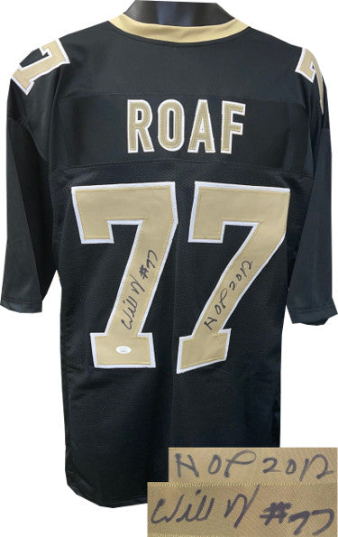 Willie Roaf signed Black Custom Stitched Pro Style Football Jersey XL #77 HOF 2012- JSA Witnessed PSM-Powers Sports Memorabilia
