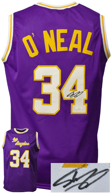 Shaquille O'Neal signed Los Angeles Custom Stitched Purple Pro Basketball Jerseyû JSA Witnessed PSM-Powers Sports Memorabilia