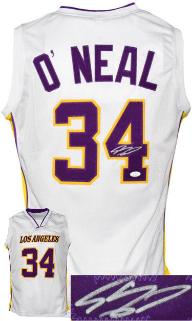 Shaquille O'Neal signed Los Angeles Custom Stitched White Pro Basketball Jerseyû JSA Witnessed PSM-Powers Sports Memorabilia
