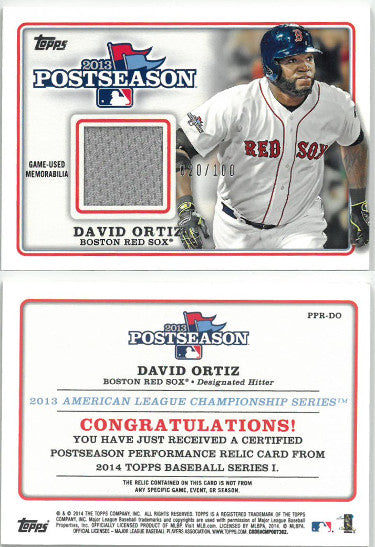 David Ortiz 2014 Topps Series 1- 2013 Postseason Game Used Relic Trading Card #PPR-DO- LTD 20/100 (Boston Red Sox) PSM-Powers Sports Memorabilia