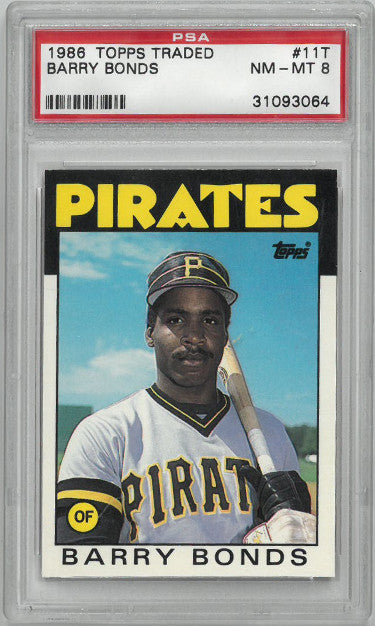 Barry Bonds 1988 Topps Traded Rookie Card (RC) #11T- PSA Graded 8 Near Mint-Mint (Pittsburgh Pirates- #31093064) PSM-Powers Sports Memorabilia