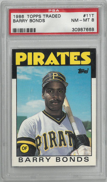 Barry Bonds 1988 Topps Traded Rookie Card (RC) #11T- PSA Graded 8 Near Mint-Mint (Pittsburgh Pirates- #30987668) PSM-Powers Sports Memorabilia