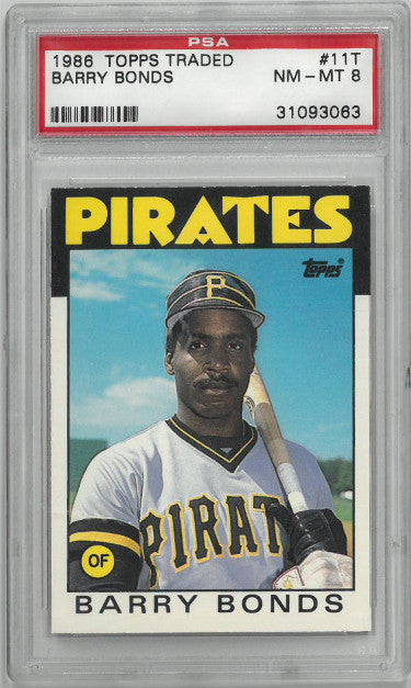 Barry Bonds 1988 Topps Traded Rookie Card (RC) #11T- PSA Graded 8 Near Mint-Mint (Pittsburgh Pirates- #31093063) PSM-Powers Sports Memorabilia