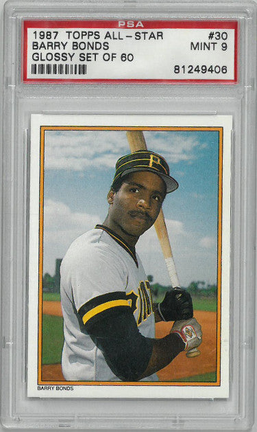 Barry Bonds 1987 Topps All-Star Glossy (Set of 60) Card #30- PSA Graded Mint 9 (Pittsburgh Pirates) PSM-Powers Sports Memorabilia