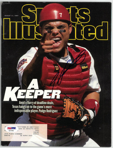 Ivan Pudge Rodriguez signed 1997 Sports Illustrated Magazine- 8/11/97– PSA #AD75452- Texas Rangers PSM-Powers Sports Memorabilia