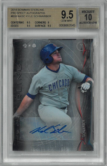 Kyle Schwarber signed 2014 Bowman Sterling Prospect Autographs Rookie Card (RC) #BSPAKSC-Beckett/BGS Graded 9.5 Gem Mint/Auto 10 PSM-Powers Sports Memorabilia