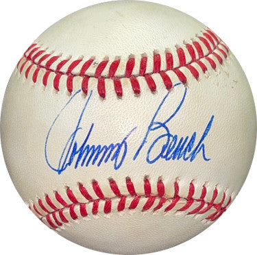 Johnny Bench signed RONL Rawlings Official National League Baseball minor tone spots- JSA #NN13626 (Cincinnati Reds) PSM-Powers Sports Memorabilia