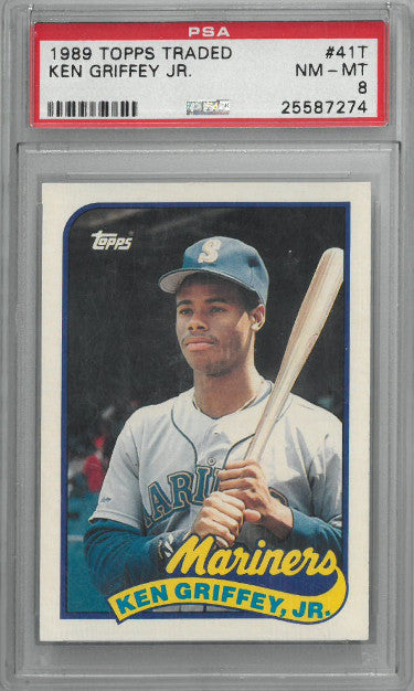 Ken Griffey, Jr. 1989 Topps Traded Rookie Card (RC) #41T- PSA Graded 8 NM-MT (Seattle Mariners) PSM-Powers Sports Memorabilia