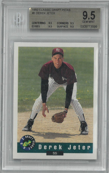 Derek Jeter 1992 Classic Draft Picks Rookie Card (RC) #6- Beckett/BGS Graded Gem Mint 9.5 (Yankees/Kalamazoo Central) PSM-Powers Sports Memorabilia