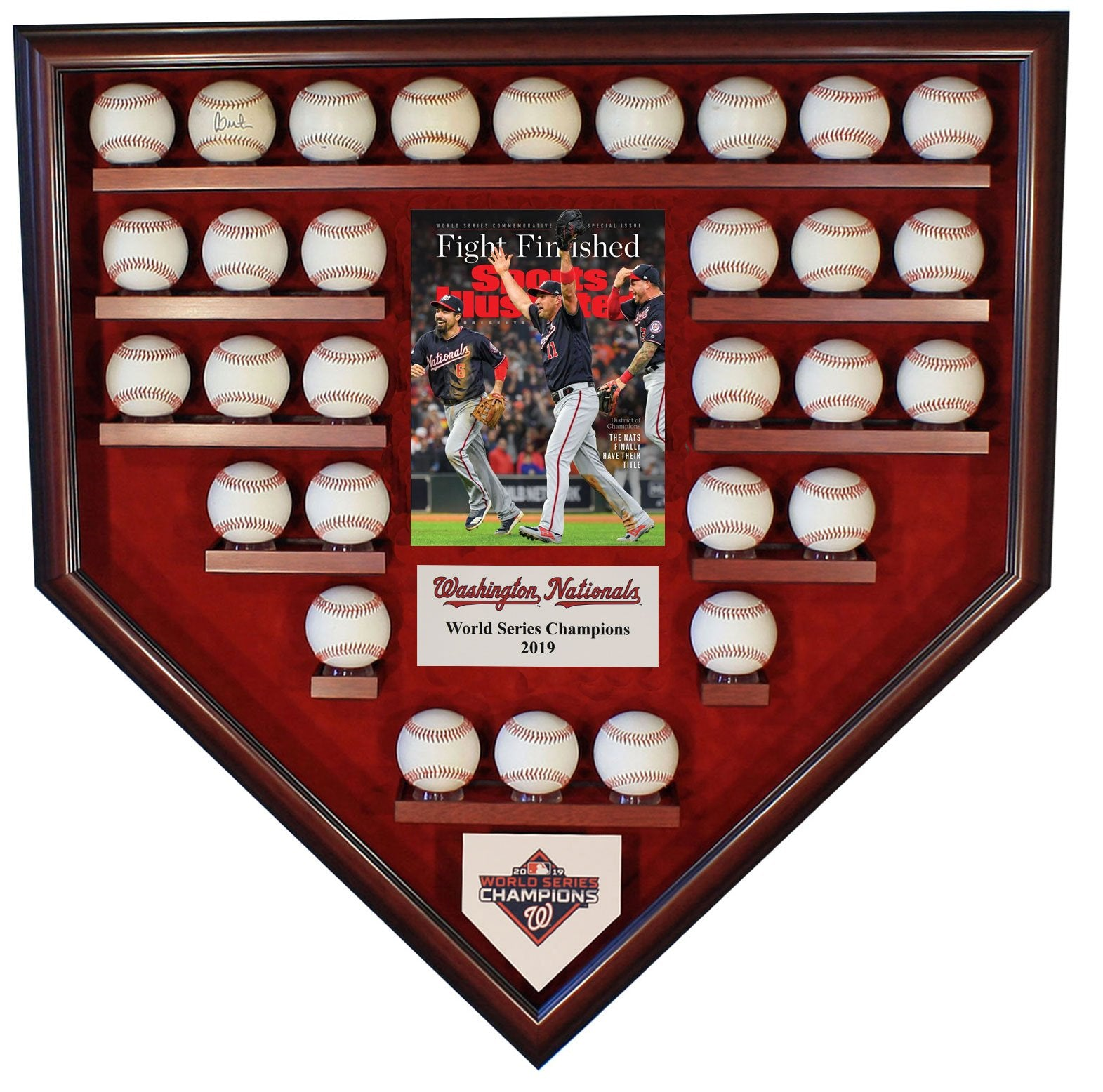 30 BASEBALL W/SI WASHINGTON NATIONALS 2019 WORLD SERIES HOMEPLATE SHAPED DISPLAY CASE-Powers Sports Memorabilia