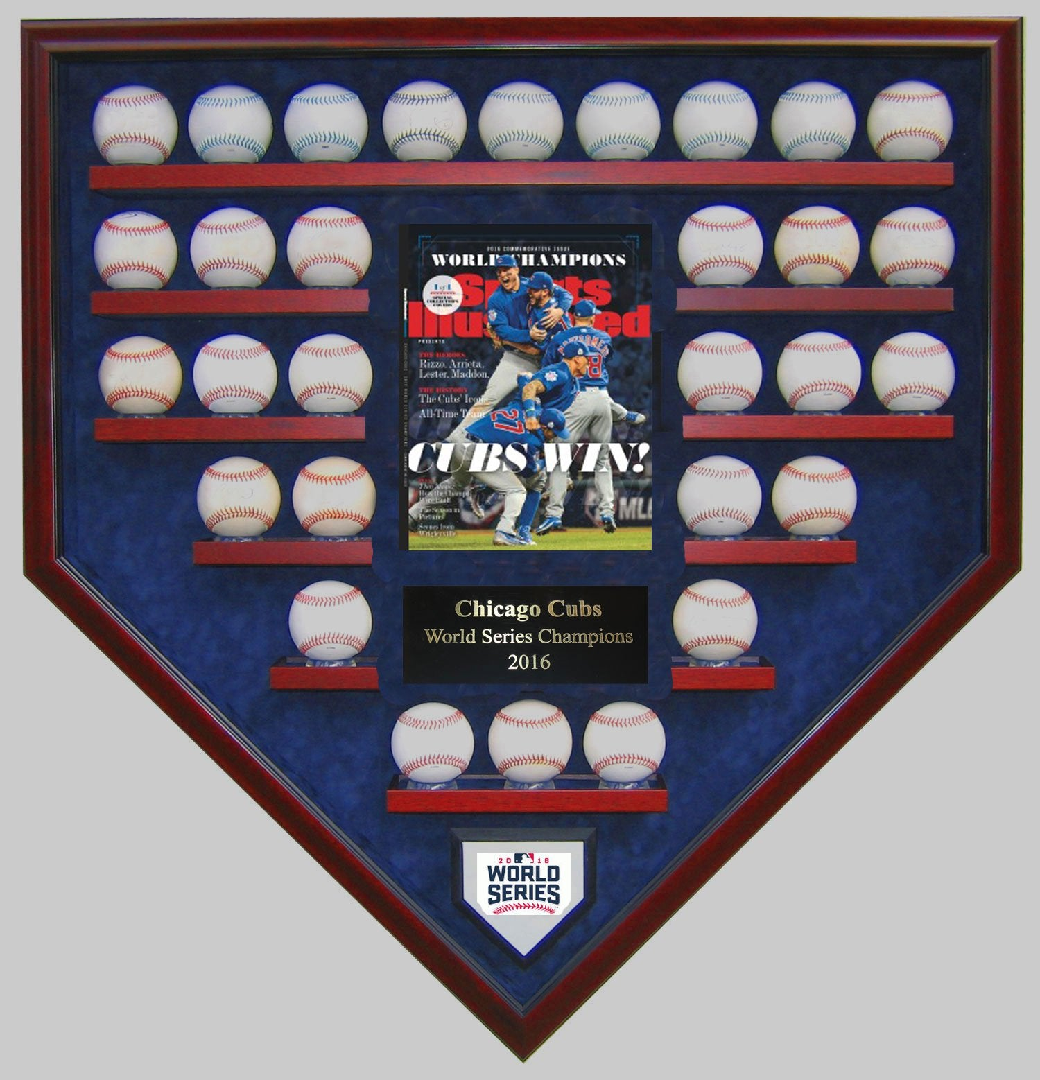 30 BASEBALL W/SI CHICAGO CUBS 2016 WORLD SERIES HOMEPLATE SHAPED DISPLAY CASE-Powers Sports Memorabilia