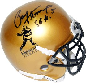Paul Hornung signed Heisman Gold Schutt Authentic Mini Helmet 56 H- JSA Hologram (Notre Dame) PSM-Powers Sports Memorabilia