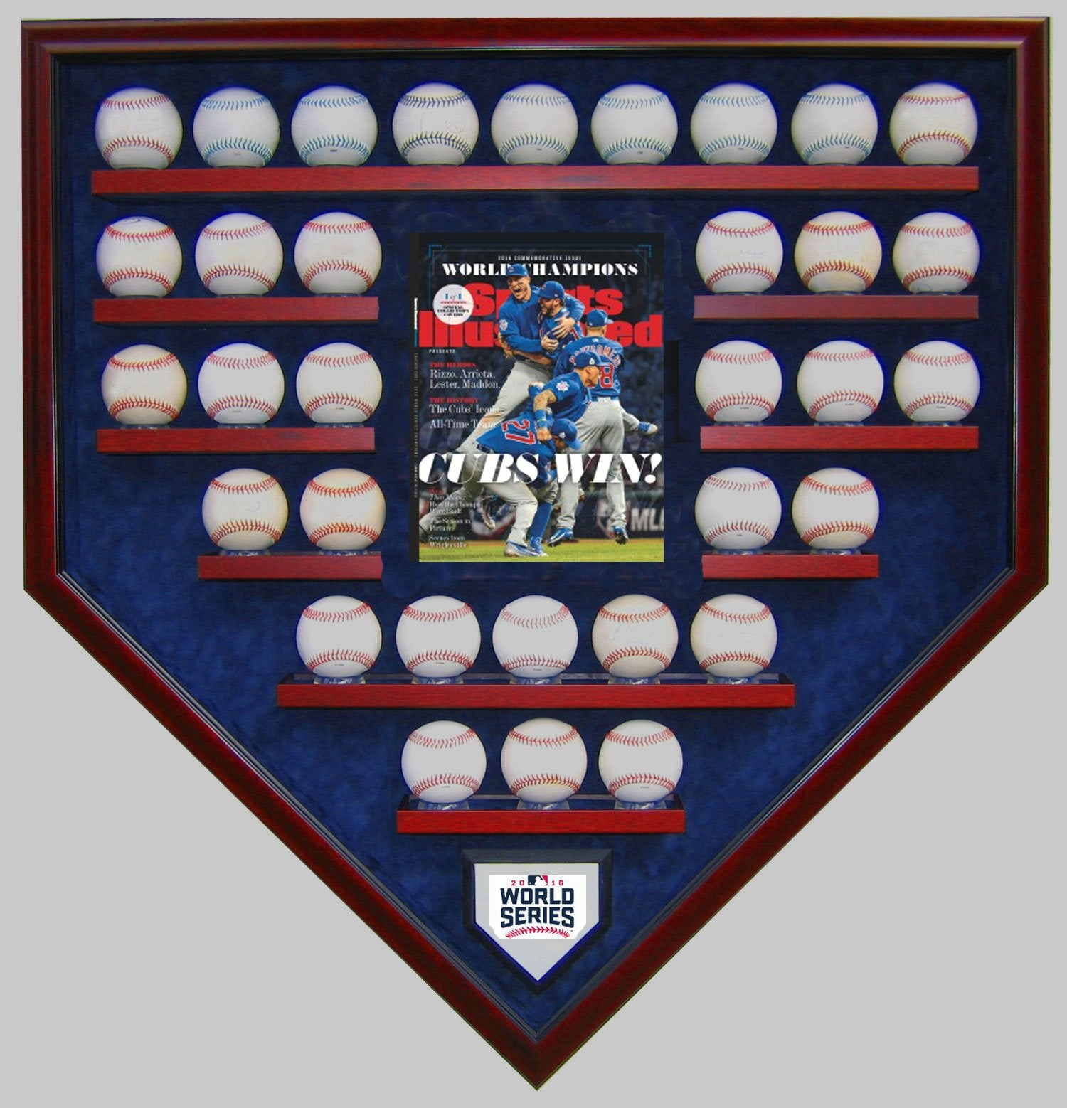33 BASEBALL W/SI CHICAGO CUBS 2016 WORLD SERIES HOMEPLATE SHAPED DISPLAY CASE-Powers Sports Memorabilia