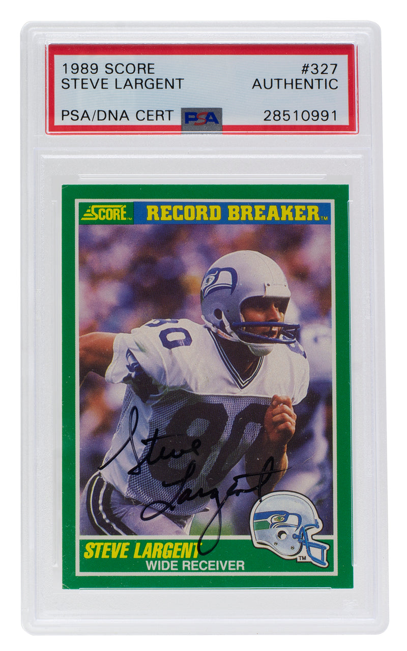 Steve Largent Seattle Seahawks Signed 1989 Score #327 Slabbed Card PSA/DNA PSM-Powers Sports Memorabilia