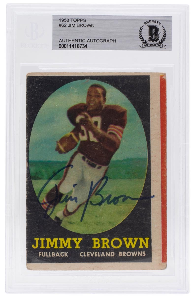 Jim Brown Signed Slabbed Browns 1958 Topps Rookie Card BAS 00011416734 PSM-Powers Sports Memorabilia