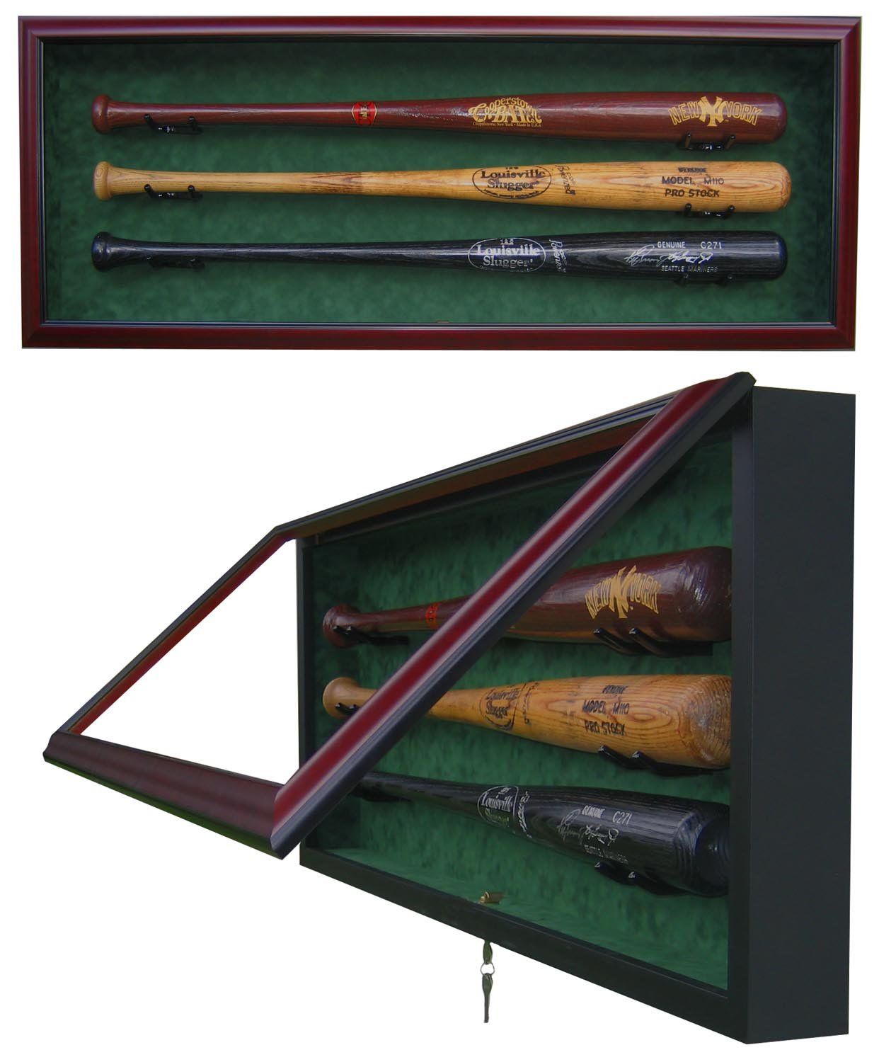 3 BASEBALL BAT DISPLAY CASE-Powers Sports Memorabilia