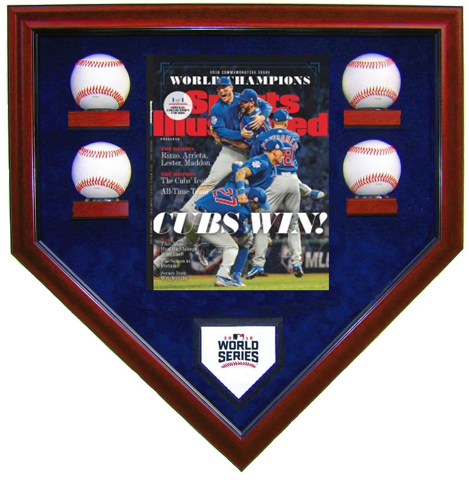 4 BASEBALL W/SI CHICAGO CUBS 2016 WORLD SERIES HOMEPLATE SHAPED DISPLAY CASE-Powers Sports Memorabilia