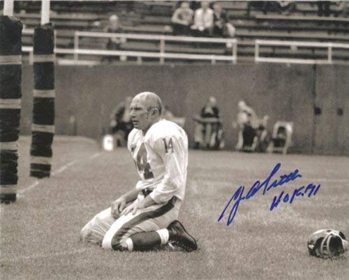 YA Tittle Autographed New York Giants 8x10 Bloody Horizontal Photo PSM-Powers Sports Memorabilia