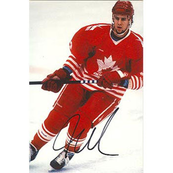 Adrian Aucoin Team Canada Autographed 4x6 Photo. This item comes with a certificate of authenticity from Autograph-Sports. PSM-Powers Sports Memorabilia