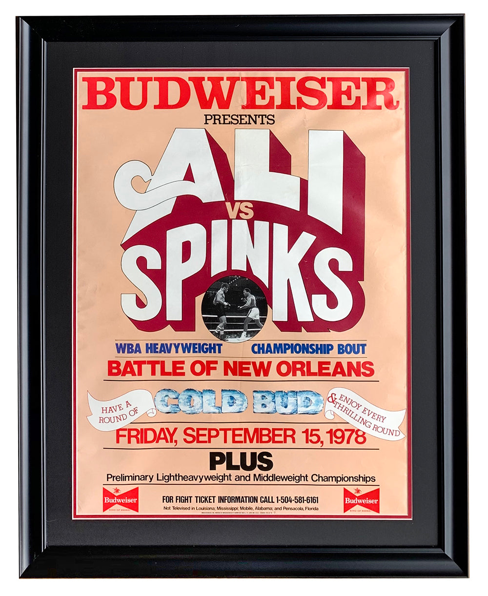 Muhammad Ali vs. Leon Spinks Framed Budweiser 1978 Fight Poster PSM-Powers Sports Memorabilia