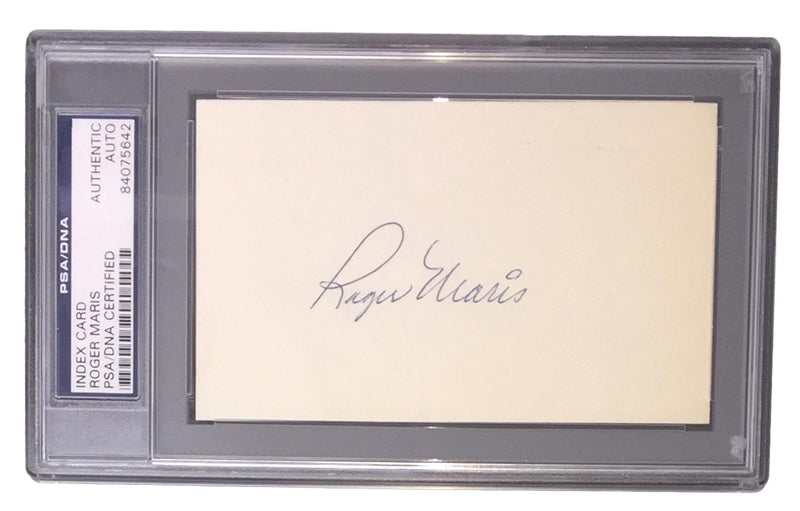 Roger Maris New York Yankees Signed Slabbed Index Card PSA 84075642 PSM-Powers Sports Memorabilia