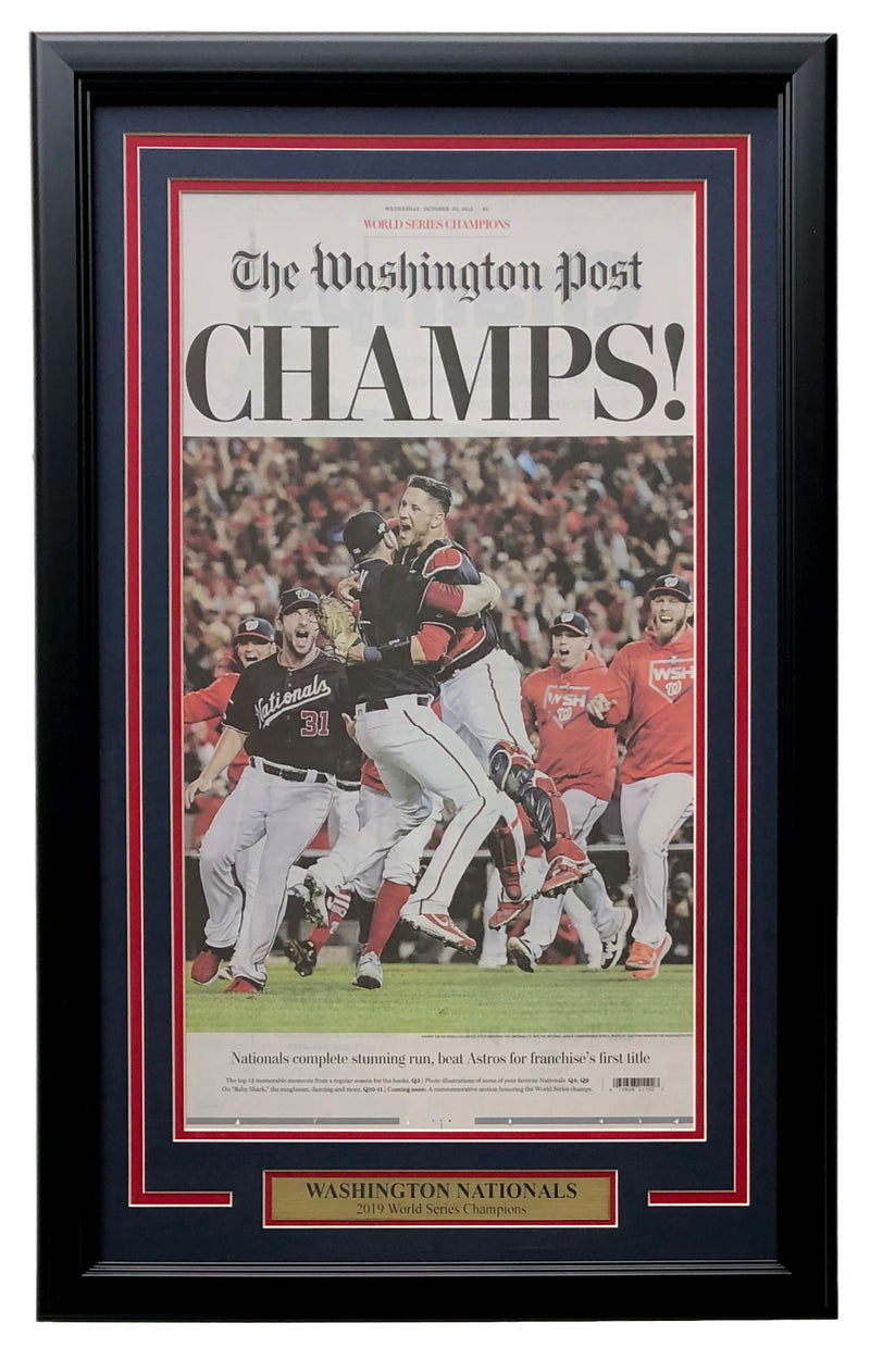 Nationals Framed 18x30 World Series Champions Oct 30 Washington Post Cover PSM-Powers Sports Memorabilia