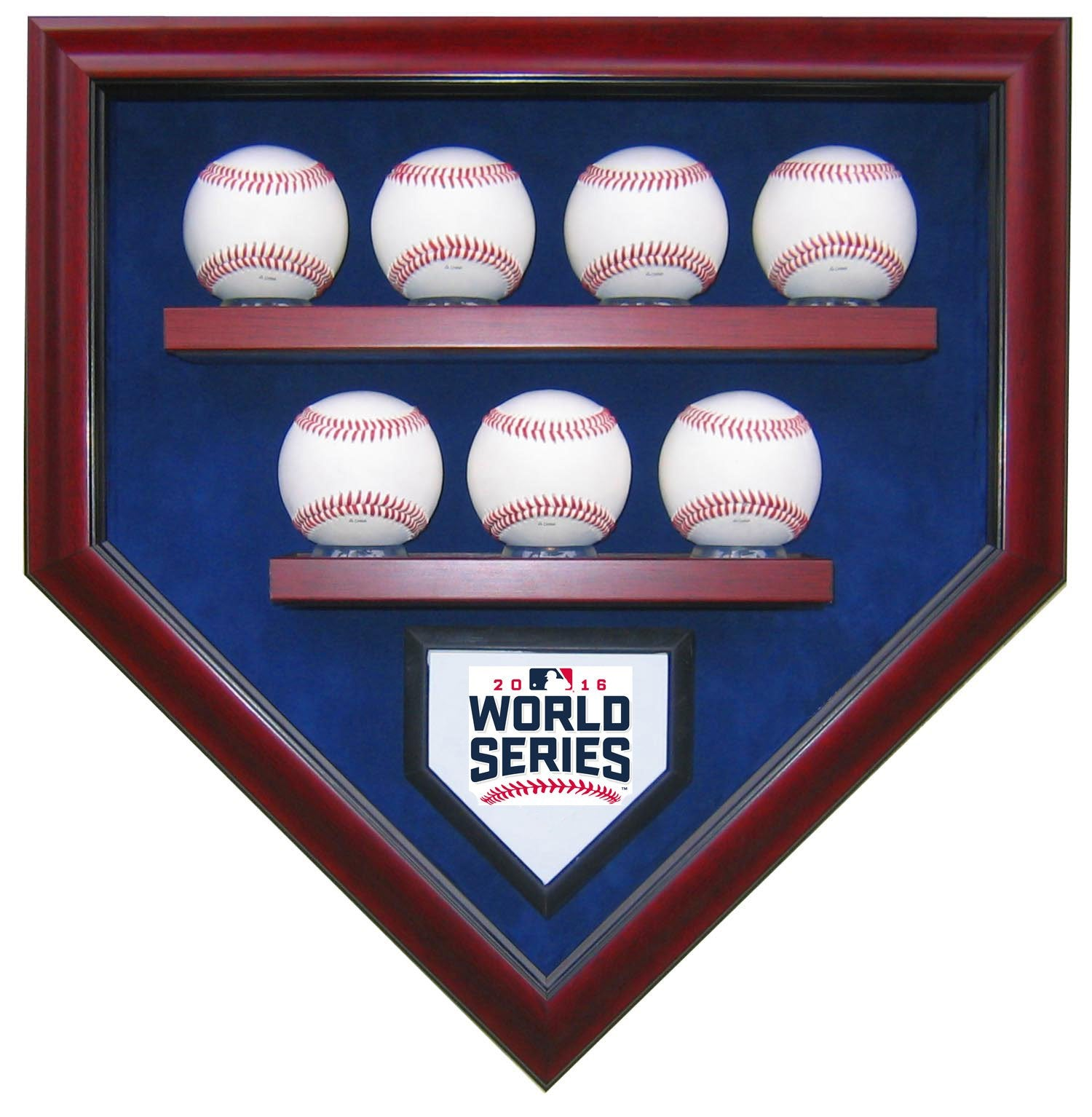 7 BASEBALL CHICAGO CUBS 2016 WORLD SERIES HOMEPLATE SHAPED DISPLAY CASE-Powers Sports Memorabilia